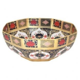 New Royal Crown Derby 1st Quality Old Imari Solid Gold Band Small Octagonal Bowl